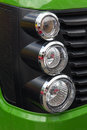 Tractor lights and grille closeup