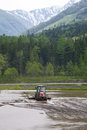 Tractor Prepares Rice Paddy, Hakuba, Japan Royalty Free Stock Image