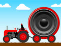 Tractor pulling a huge speaker Royalty Free Stock Photography