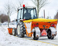 Tractor removes snow in a park Royalty Free Stock Photography