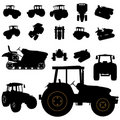 Tractor silhouette set Royalty Free Stock Photos