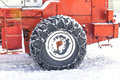 Tractor tire for snow removal in the winter