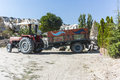 Tractor and trailer with in goreme cappadocia in central turkey in the gardening store Royalty Free Stock Images