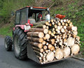 Tractor transport a full load of wood 2 Royalty Free Stock Photo
