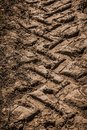 Tractor wheel tracks on the ground Royalty Free Stock Photo