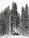 Tractor in winter forest Royalty Free Stock Photo