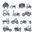 Tractors icon set Royalty Free Stock Photo