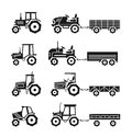 Tractors icons vector set Royalty Free Stock Photo