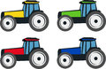 Tractors vector illustration of four types of each tractor has a different color yellow green red and blue Stock Photos
