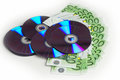 Trade data cd blanks with money seem Stock Images