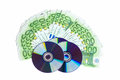 Trade data cd blanks with money seem Stock Photo