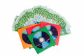 Trade data cd blanks with money seem Royalty Free Stock Photo