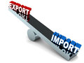 Trade deficit imports versus exports on a metal see saw more imports less exports leading to Royalty Free Stock Image
