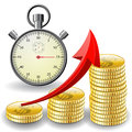 Trade diagram with golden coins money stopwatch vector illustrations Royalty Free Stock Image
