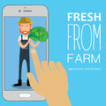 Trade with fresh vegetables from farmer hand