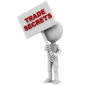 Trade secrets words banner little d man holding both hands against white background red text Royalty Free Stock Image