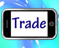 Trade smartphone shows online buying selling showing and shops Royalty Free Stock Photography