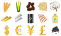 Traded commodities a set of icons for the most wheat corn coffee natural gas oil coal gold silver and currencies Stock Image