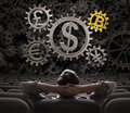 Trader or investor looking on currencies gears including bitcoin 3d illustration Royalty Free Stock Photo