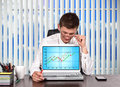 Trader  looking on stock chart Royalty Free Stock Photo