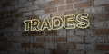 TRADES - Glowing Neon Sign on stonework wall - 3D rendered royalty free stock illustration
