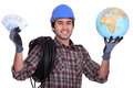 Tradesman getting rich Royalty Free Stock Photo
