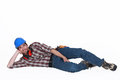 Tradesman on the ground lying Royalty Free Stock Photo