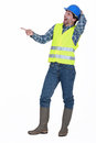Tradesman laughing at something in the distance Royalty Free Stock Photos