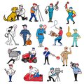 Tradesman Mascot Cartoon Set Royalty Free Stock Photo