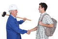 Tradesman meeting new apprentice Royalty Free Stock Image