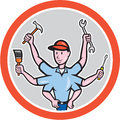 Tradesman Worker Six Hand Cartoon
