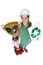 Tradeswoman receiving an award Stock Photo