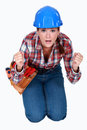Tradeswoman waiting in anticipation nervous Royalty Free Stock Photos