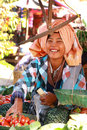 Trading activities nyaung u market myanmar february on february at it is a local where people come from Royalty Free Stock Photos