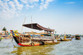 Trading boats on cai be floating market mekong delta tien giang vietnam Royalty Free Stock Photography
