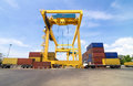 Trading port cranes and container storage with truck ayutthaya thailand Stock Photos