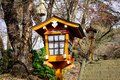Tradition lantern made from wood in Japanese temple Royalty Free Stock Photo