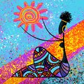 Traditional African beautiful black girl holds the sun digital painting artwork on blue background illustration