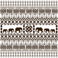 Traditional African pattern with elephants Stock Photography