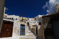A traditional alley in Pyrgos village, Santorini. Royalty Free Stock Photo