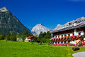 Traditional alps village summer landscape Stock Images