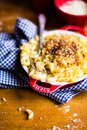 Traditional american food. Baked macaroni and cheese also called mac and cheese on a wooden table, top view. Comfort food. Hearty Royalty Free Stock Photo