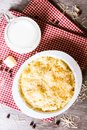 Traditional american food. Baked macaroni and cheese also called mac and cheese on a wooden table, top view. Royalty Free Stock Photo