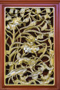 Traditional ancient chinese decorative window frame wood craft with gold leaf Stock Images