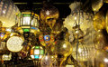 Traditional arabic style culorful lanterns at night market Royalty Free Stock Photo