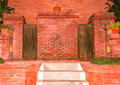 Traditional architectural design of tap a nepalese style using bricks and stones Stock Images
