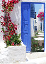 Traditional architecture of oia village on santorini island greece Royalty Free Stock Photo