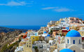 The traditional architecture of santorini sea view white and blue houses island greece Royalty Free Stock Image