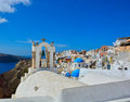 The traditional architecture of santorini sea view white and blue houses island greece Stock Images