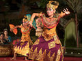 Traditional balinese legong dance performance in ubud bali dancers perform and barong at open air theater Stock Image